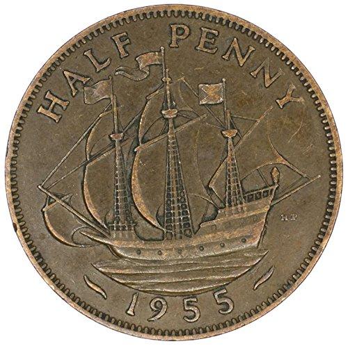 1955 UK Great Britain Elizabeth II Bronze Halfpenny Good