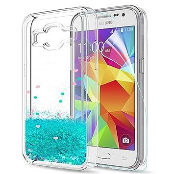 LeYi Funda Samsung Galaxy Core Prime Silicona Purpurina Carcasa con HD Protectores de Pantalla,Transparente Cristal Bumper Telefono Gel TPU Fundas ...