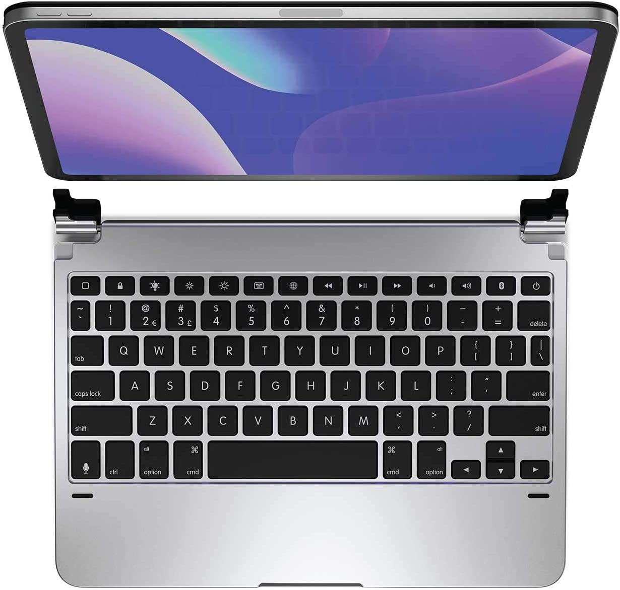 Brydge 11.0 Pro Wireless Keyboard | Compatible with iPad Pro 11-inch (2018) and iPad Air 4 (2020) | Backlit Keys | Long Battery Life | (Silver)