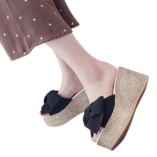 f894b1a0aea7 QingFan Women s Platform Wedge Sandal Classic Bow Mid Heel Peep Toe Shoes ( Black