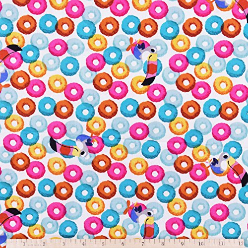 Kelloggs Fabric Froot Loops Fabric in Off White 1.5 Yards -
