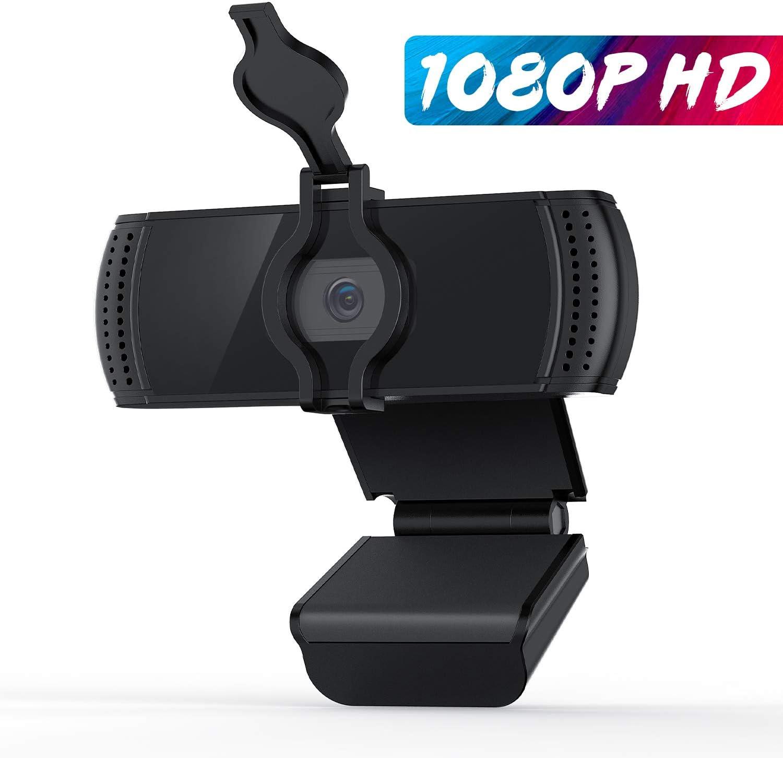 BOIFUN Webcam 1080P con Micrófono para PC, Full HD Cámara Web USB 2.0 para Videoconferencia, Estudios, Conferencias, Grabación, Juegos, Plug y Play, con Cubierta de Privacidad [Gestionado por Amazon]