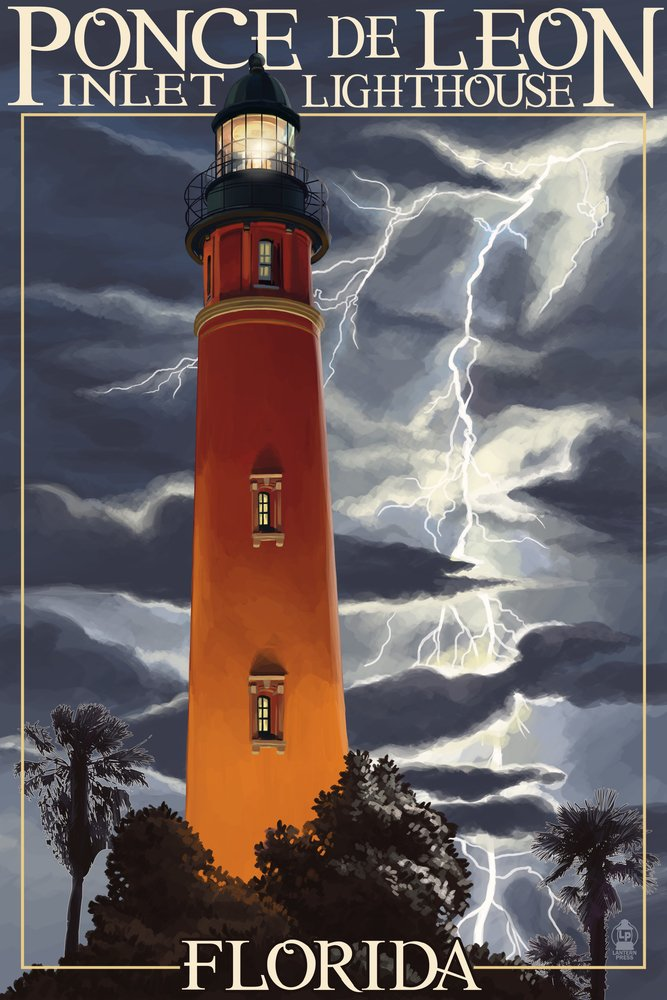 Ponce de Leon Inlet灯台、フロリダ州 – Lightning at Night B074S15SLH 8oz Coffee Bag8oz Coffee Bag