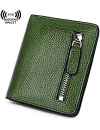 ainimoer RFID bloqueo de las mujeres de piel billetera funda para tarjeta cartera con Zipper Bolsillo