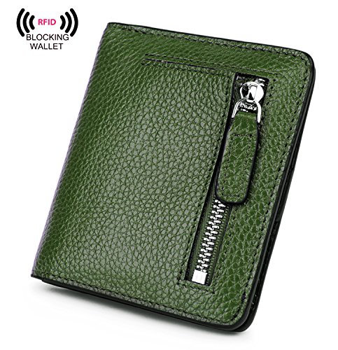 BIG SALE-AINIMOER Women's RFID Blocking Leather Small Compact Bifold Pocket Wallet Ladies Mini Purse with id Window (Green) - Green Flat Wallet
