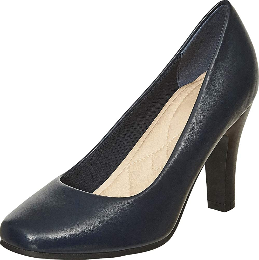 Navy Pu Cambridge Select Women's Classic Square Toe Padded Comfort Tapered High Heel Pump