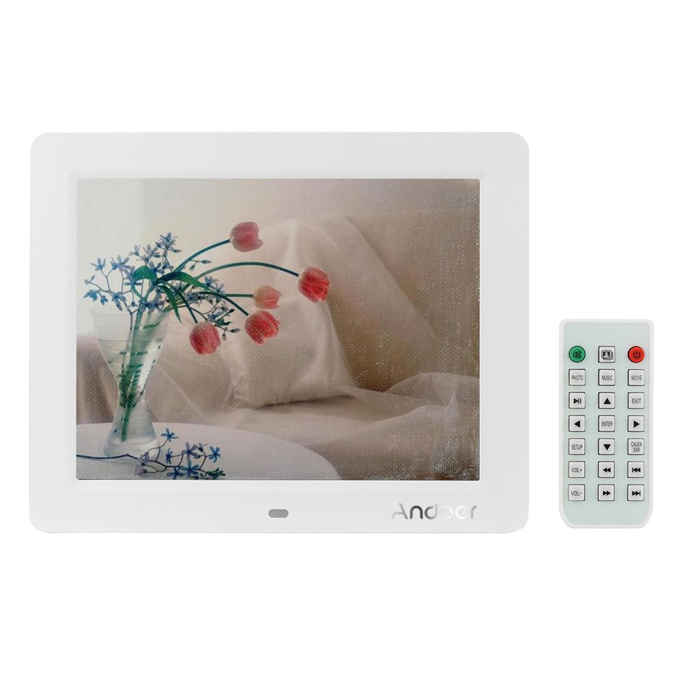 Andoer 10 inch LCD High Resolution Slim Multifunctional Desktop Digital Photo Frame with MP3 MP4 E-book Calendar Function with Remote