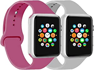 CoJerk Compatible for Apple watch Band 38mm 40mm 42mm 44mm,Replacement Band for iWatch Series 5/4/3/2/1 (Cloud gray+Dragon fruit, 42mm/44mm-ml)
