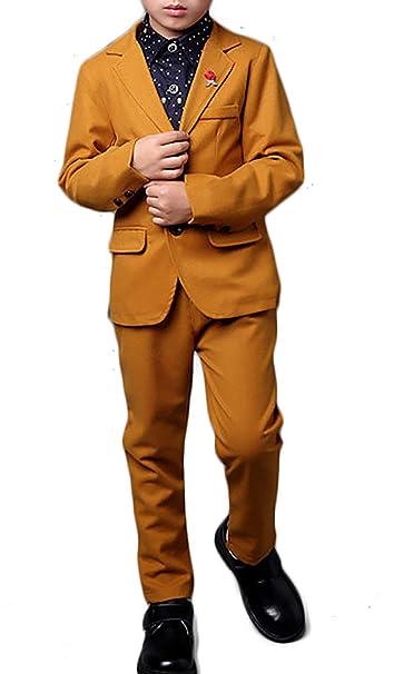 b59745bf4 Boys Yellow Gentleman Tuxedo Suits Blazer Jacket Trousers 2 Pieces Set:  Amazon.co.uk: Clothing