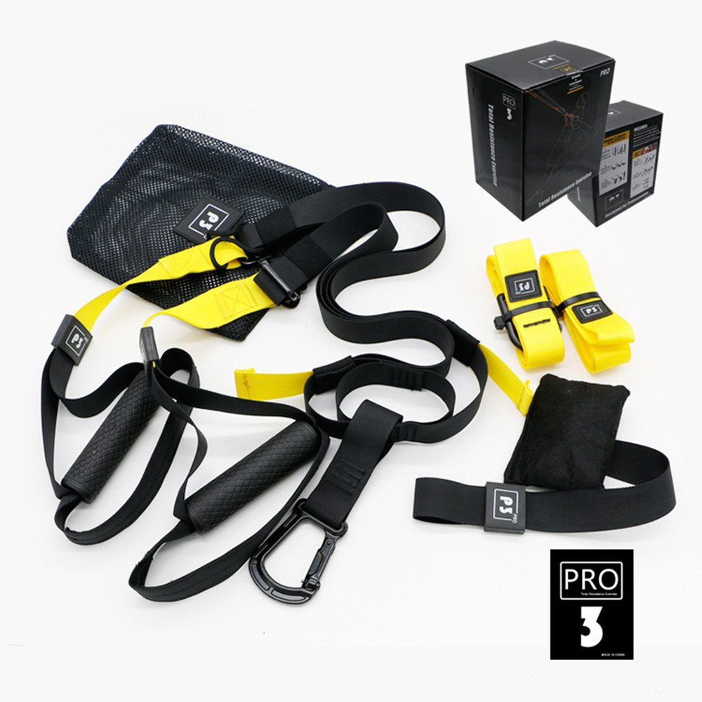 Professional Suspension Trainer KSHOP Pro Suspension Training Kit load capacity of up to 1000 kg, Suspension Kit Outdoor Anchor Snap Hook Storage Bag perfect for Home Travel and Working Out Indoors & Outdoors Black(Sports Edition - 4 pieces)