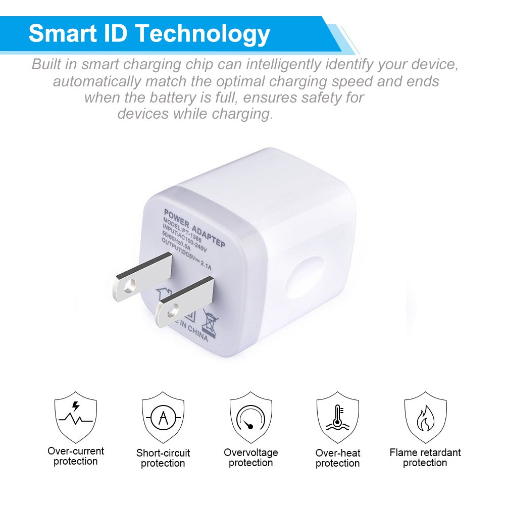 Niniber Usb Wall Charger Box Block 2 Pack 21amp Dual The Circuit Adapter Charge Mobile Phones Phone Battery Port Fast Charging Plug Base Compatible Iphone X 8 7 6 Plus Se 5s 4sipad Samsung Lg Moto Htc Cell