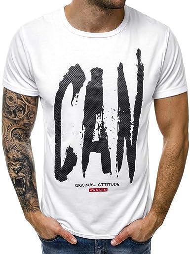 Camiseta Hombre, Verano Manga Corta Impresión de Letras Moda Camiseta Casual T-Shirt Blusas Camisas Camisetas Originales Cuello Redondo Hombre Suave básica Camiseta Top vpass: Amazon.es: Ropa y accesorios