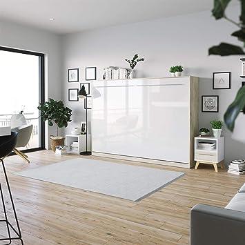 SMARTBett Standard Cama abatible Cama Plegable Cama de Pared (Roble Sonoma/Blanco Brillante, 140 x 200 cm Horizontal): Amazon.es: Hogar