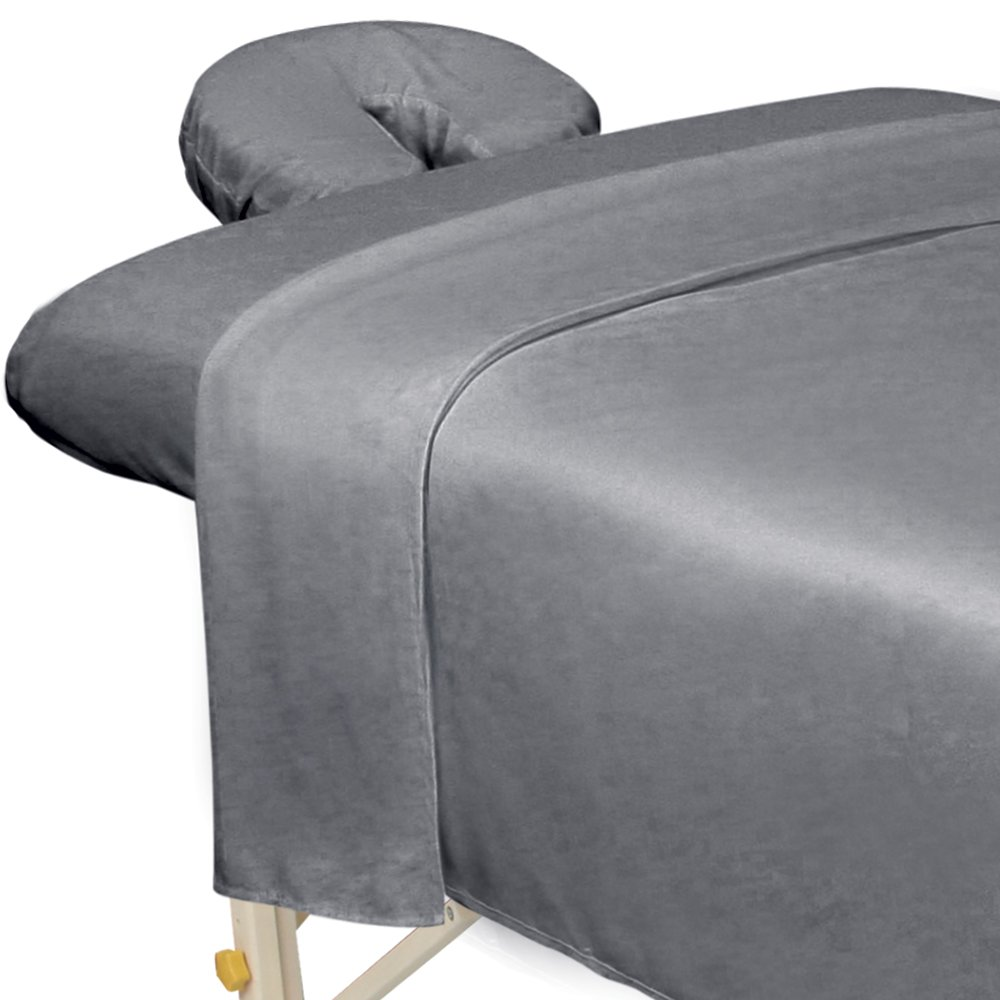 ForPro Premium Microfiber 3-Piece Massage Sheet Set, Cool Grey, Ultra-Light, Stain and Wrinkle-Resistant, Includes Massage Flat Sheet, Massage Fitted Sheet, and Massage Face Rest Cover : Beauty