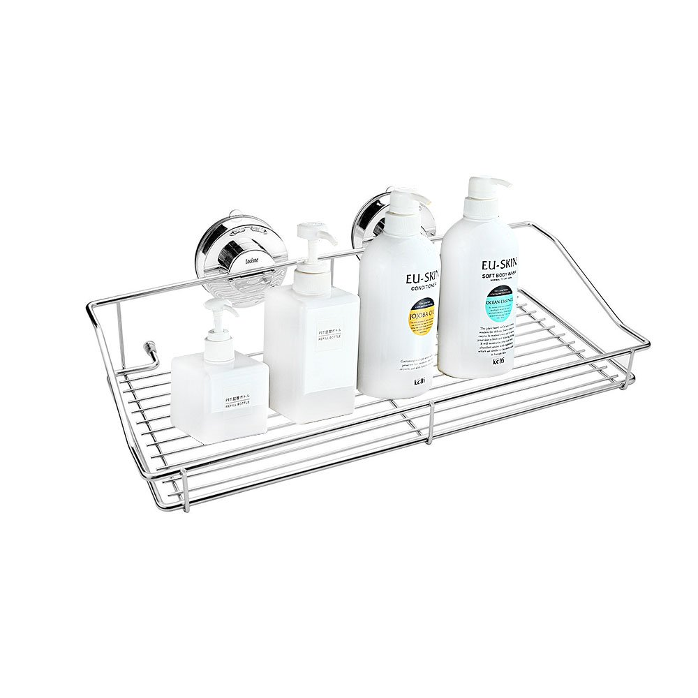 Locisne Stainless Steel Vacuum Suction Caddy Shelf Rustproof with two Rotate & Lock Rectangle Super Strong Wall Holder for Kitchen Bathroom Storage Basket