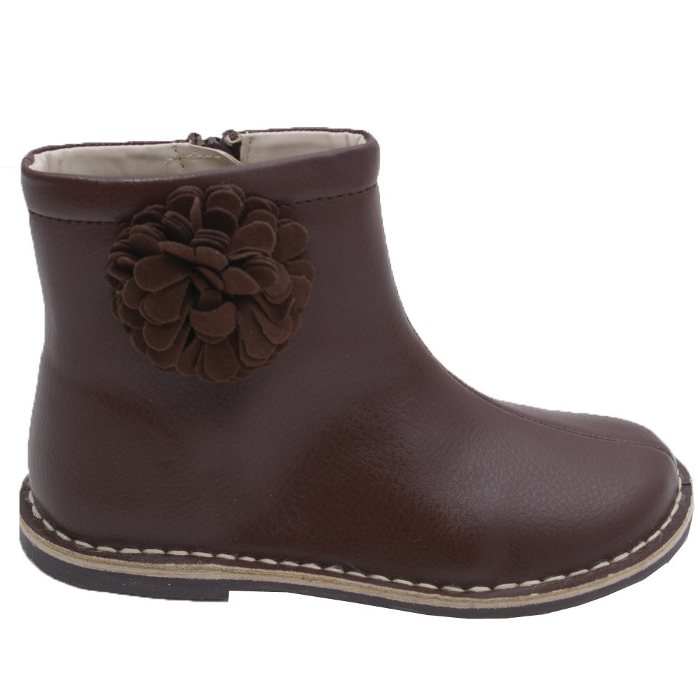 L'Amour Little Girls Brown Suede Pom Pom Flower Zipper Leather Boots 11 Kids