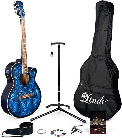 Lindo Guitars Stratosphere - Guitarra acústica con funda (afinador ...