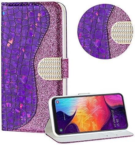Diamant Brieftasche Hülle für Galaxy A20E,Lila Wallet Handyhülle für Galaxy A20E,Moiky Ultra Dünn Stilvoll Laser Glitzer Farbe Block Klappbar Stand Silikon Handytasche