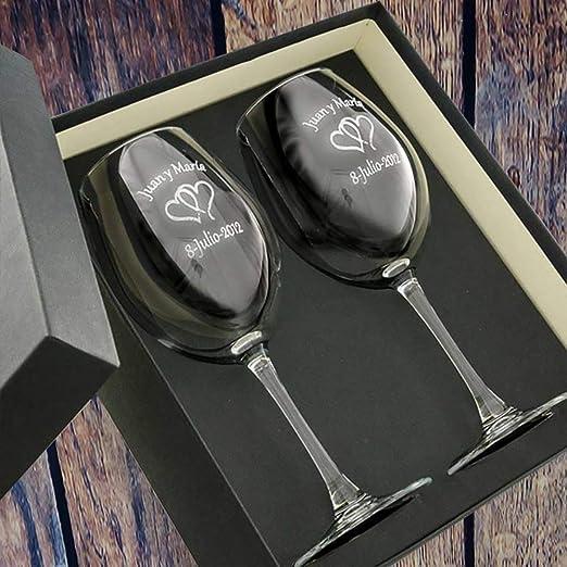 Regalo para Parejas Personalizable: Copas de Vino grabadas con los ...