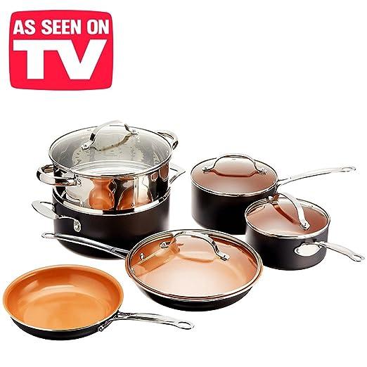 Batería de cocina Chef de cobre Super Resistente. 100% sin PFOA Kit 10 Piezas. Resistentes de horno hasta 260 ° Juego de pan sartenes Copper olla ...
