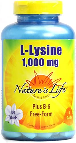 Nature s Life L-Lysine , 1000 Mg, Plus B-6 Free-Form, 100 Tablets