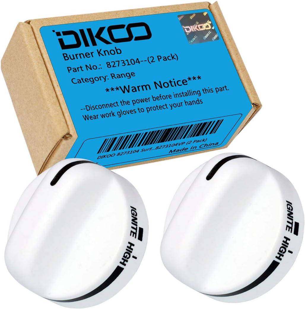DIKOO 8273104 Range Top Surface Burner Knobs for Whirlpool, Roper, Estate Stove RangeReplace 8273104 (2 Pack)