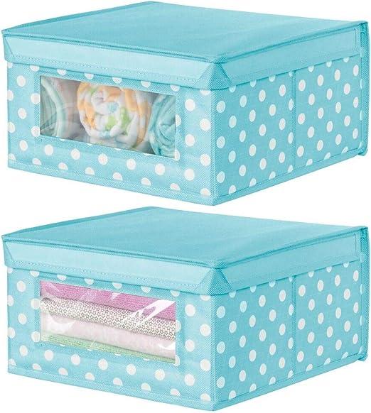 mDesign Juego de 2 cajas apilables medianas – Caja con tapa para ...