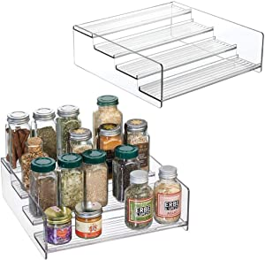 mDesign Plastic Kitchen Spice Bottle Rack Holder, Food Storage Organizer for Cabinet, Cupboard, Pantry, Shelf - Holds Spices, Mason Jars, Baking Supplies, Canned Food - 4 Levels, 2 Pack - Clear