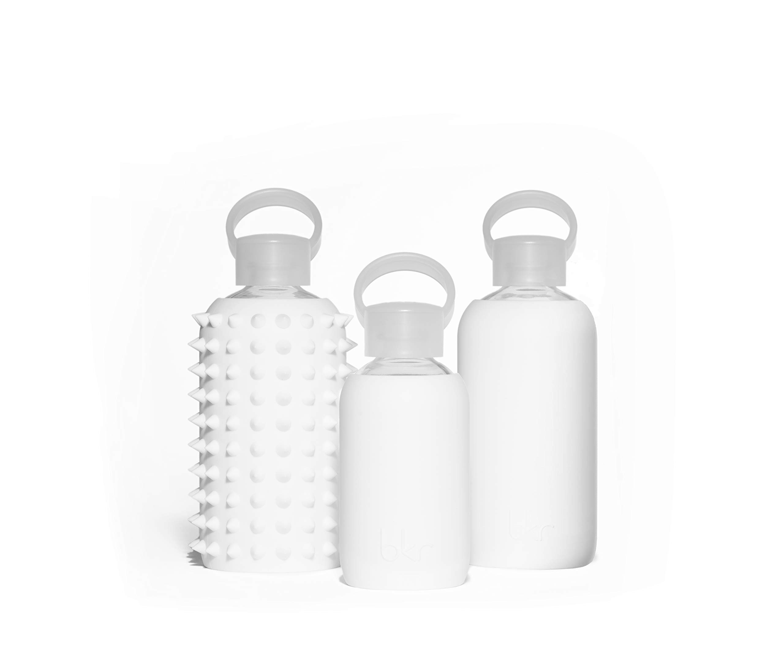 bkr Winter Glass Water Bottle with Smooth Silicone Sleeve for travel, Narrow Mouth, BPA-Free & Dishwasher Safe, Opaque White, 8 oz / 250 mL by bkr (Image #5)