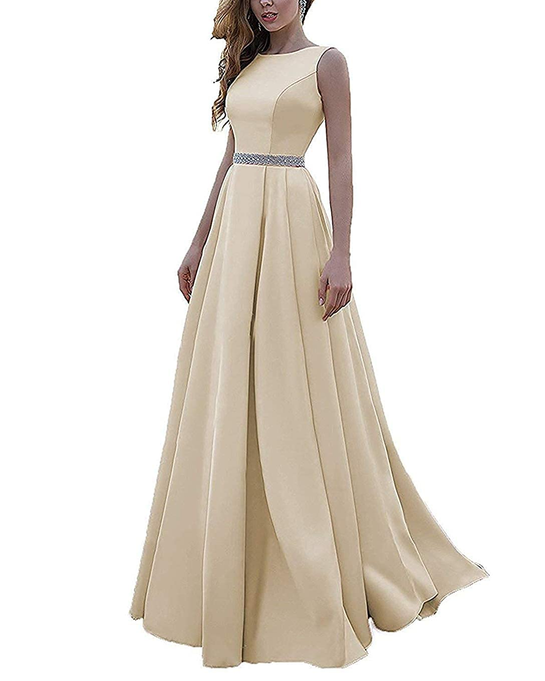 Champagne Beaded Satin Prom Dresses Long with Pockets Jewel Neckline Princess Ball Gown