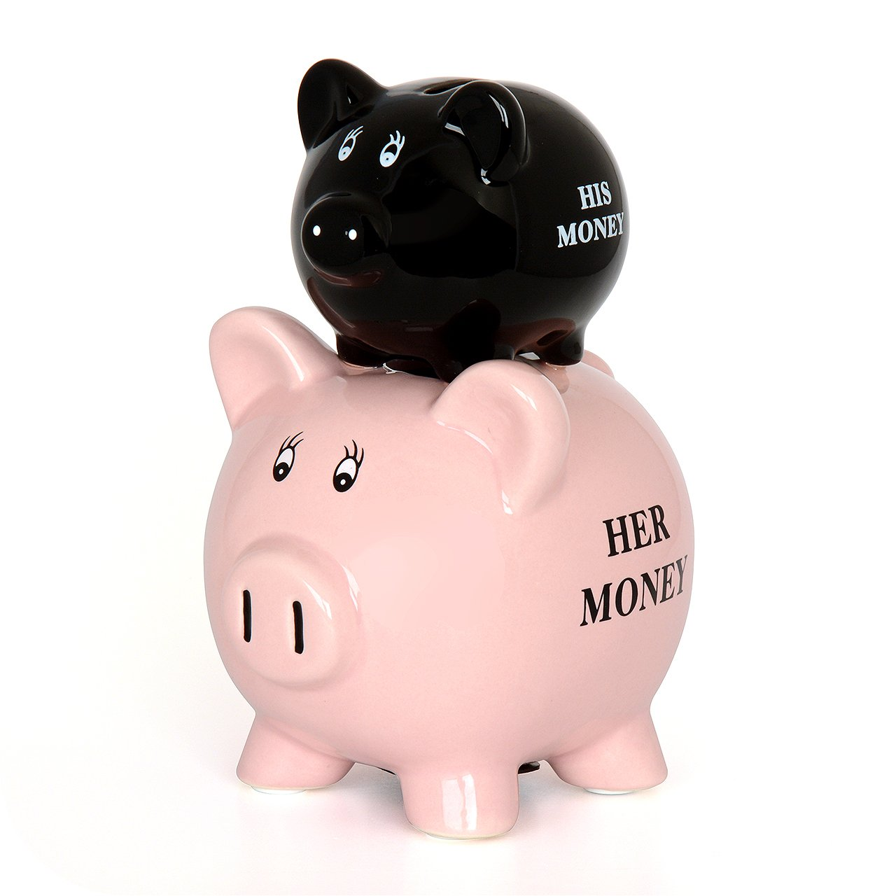 CKB LTD IGGI - His/Her Piggy Bank Ceramic Funny Money Coin box - 19cm - Pink & Black Gift House International GH-007