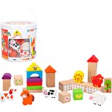 WOOMAX Cubo 50 bloques & figuras de madera natural (ColorBaby 42747)