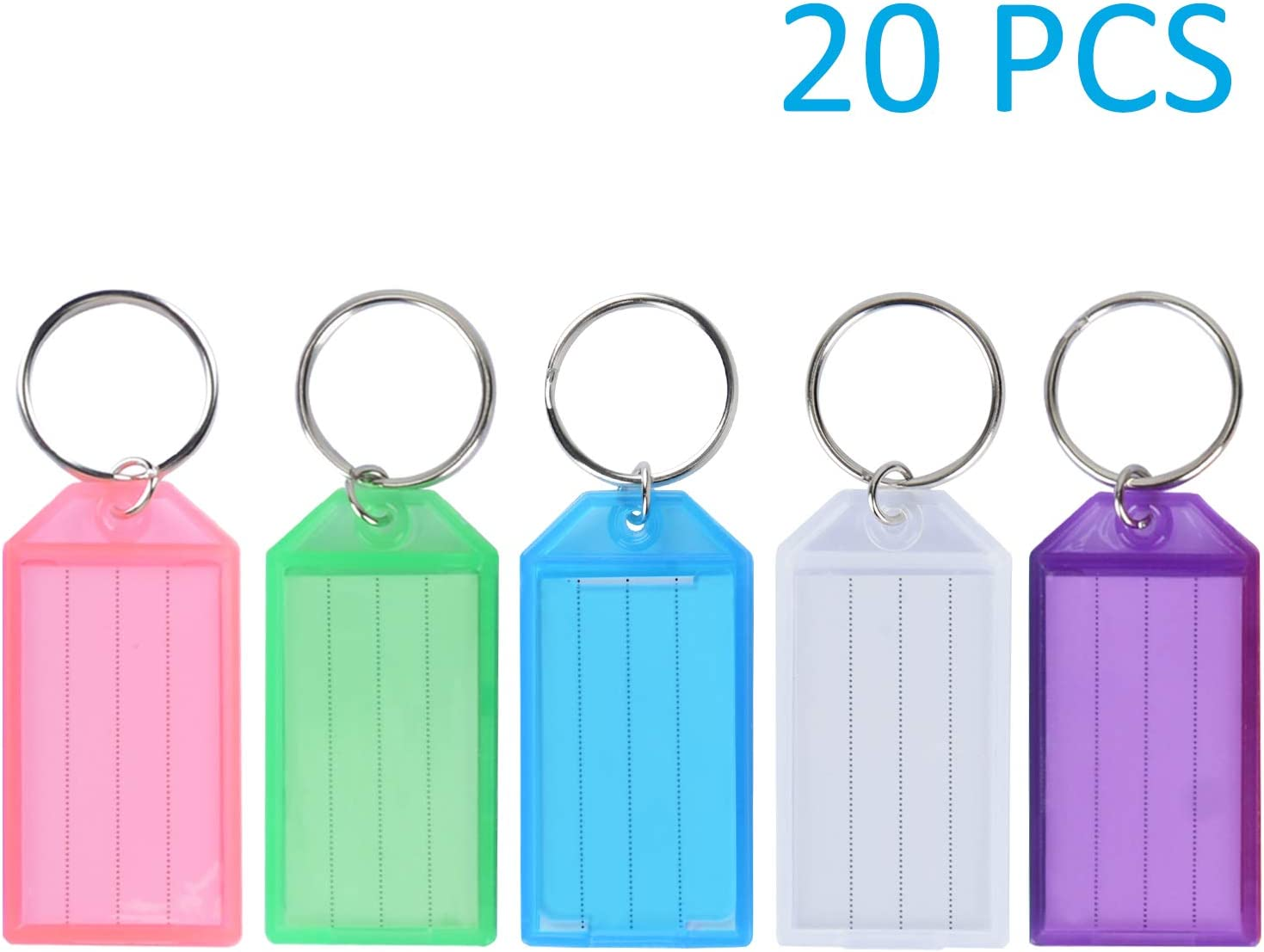 Vibit 20 Pack Tough Plastic Key Tags with Split Ring Label Window, 5 Colors
