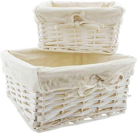 SIDCO - Cesta de mimbre (2 unidades), color blanco: Amazon.es: Hogar