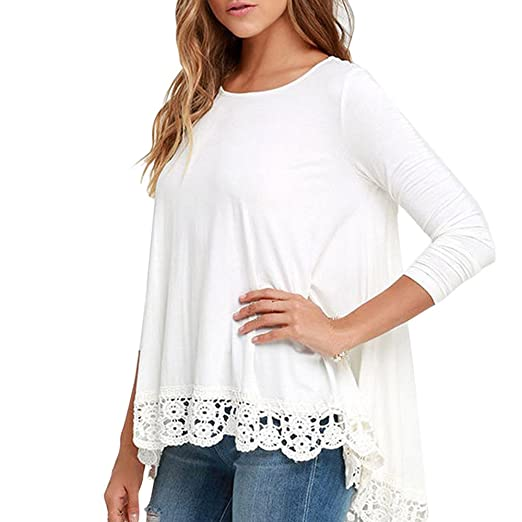 31736b3dee31b4 Women's Lace Long Sleeve Elegant White Shirt Casual Blouse Loose Cotton