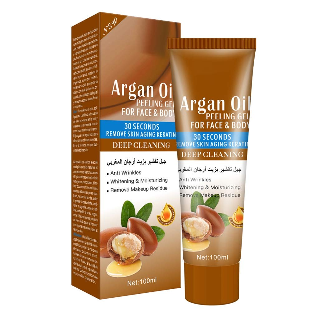 Soly Teche Argan Oil Exfoliating Peeling Gel, Deep Cleaning Pores Dirt Remove Acne Blackhead Moisturizing Exfoliating Peeling Gel for Face and Body