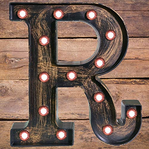 Golden Black Led Marquee Letter - Industrial, Vintage Style Light Up Alphabet Letter Sign for Cafe Wedding Birthday Party Christmas Lamp Home Bar Initials Decor - R -
