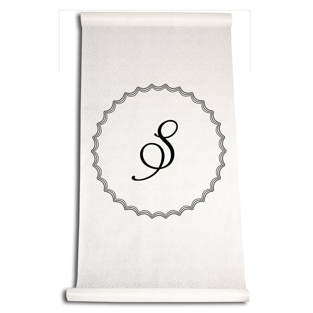 Ivy Lane Design Wedding Accessories Aisle Runner with Initial Black Letter S