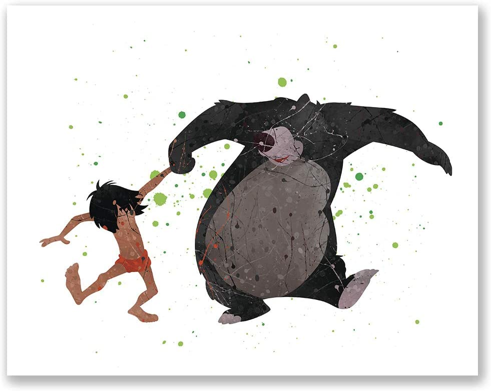 PGbureau Jungle Book Poster - Mowgli and Baloo Wall Print - Watercolor Inspired Wall Decor - Birthday Present for Children (8x10)