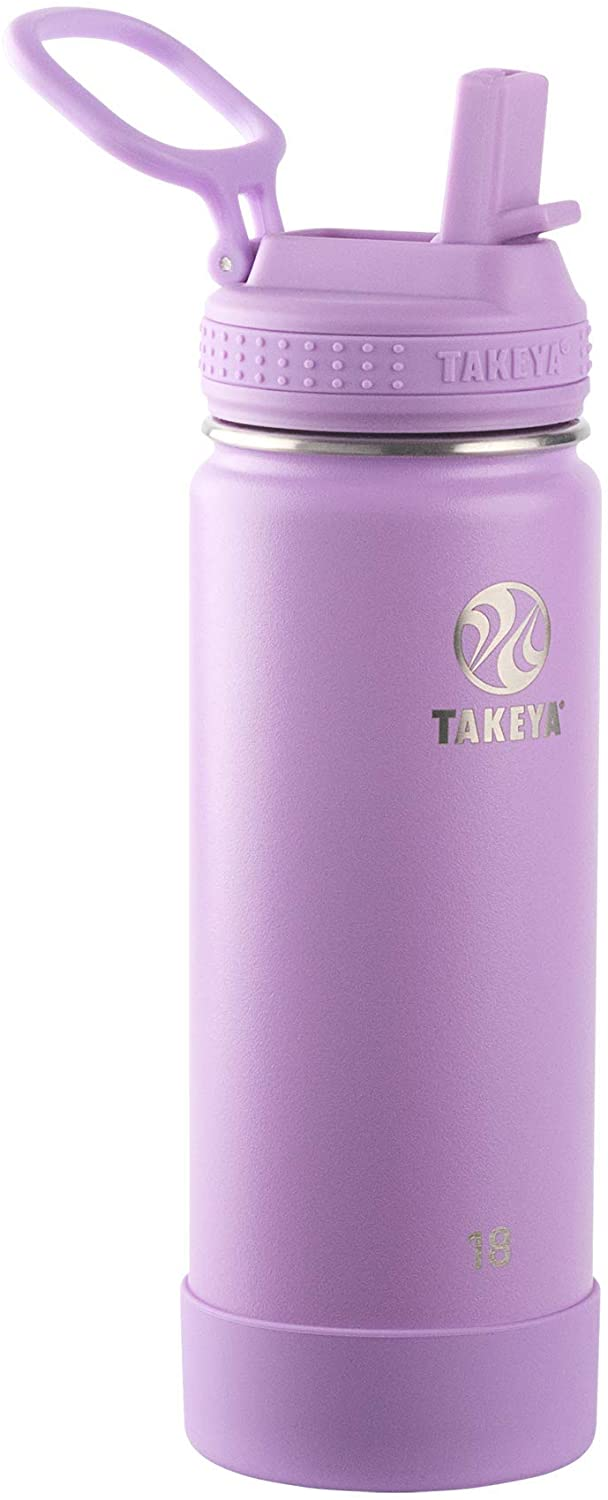 Takeya Actives Insulated Water Bottle w/Straw Lid, Lilac, 18 Ounces