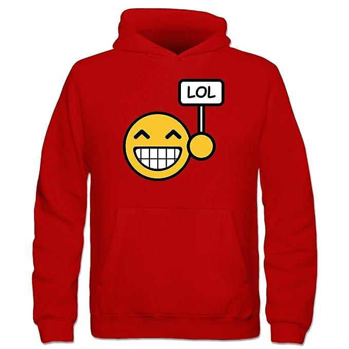 Lol Smiley Face Niños sudadera con capucha by Camiseta City Rojo rojo: Amazon.es: Ropa y accesorios