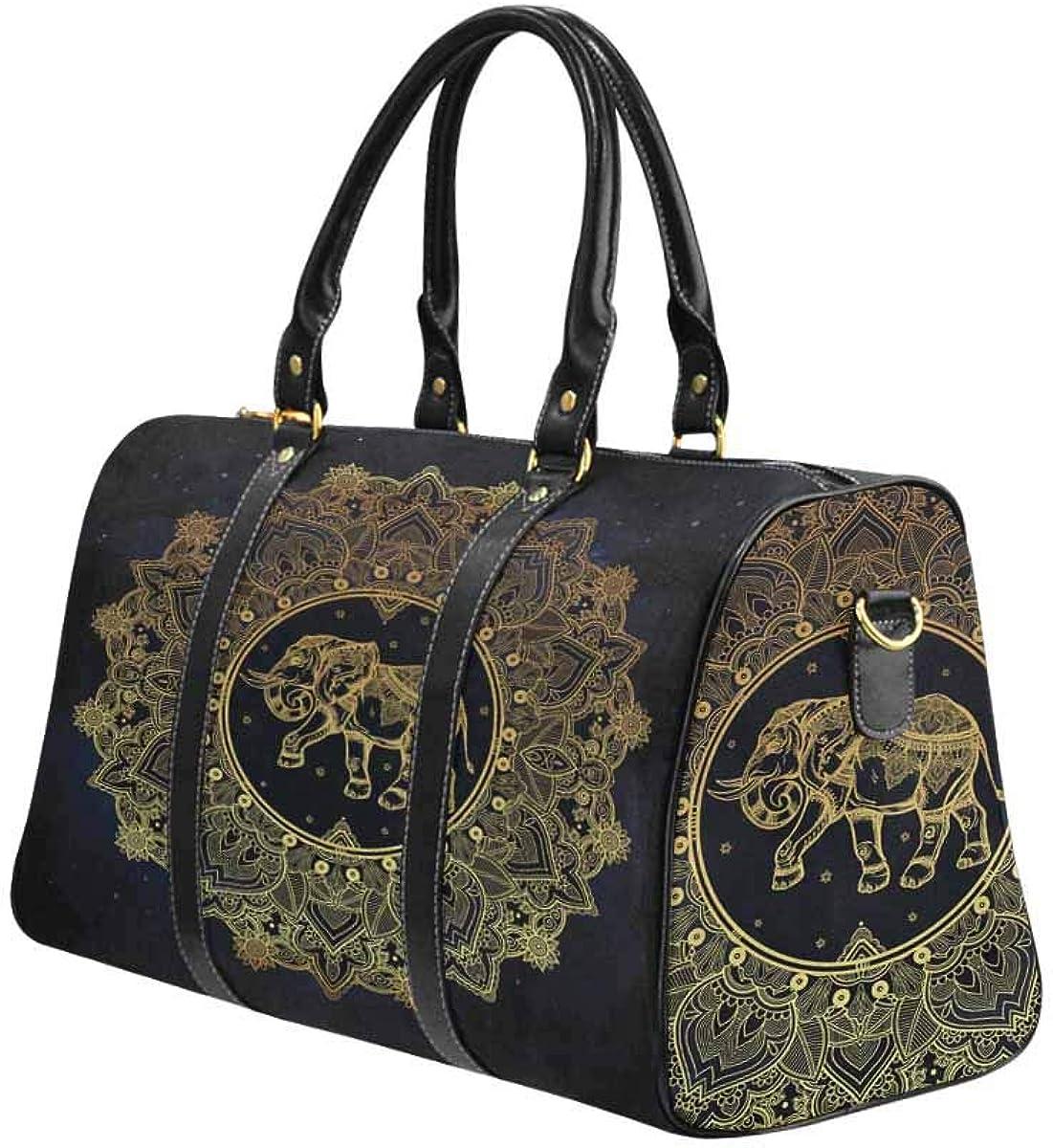 INTERESTPRINT Weekender Bag Overnight Carry-on Tote Duffel Bag Paisley Mandala with Elephant Inside