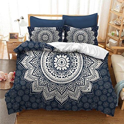 YOUSA International Boho Duvet Cover with Pillow Shams Floral Bedding Set (Full,09)