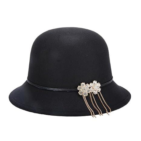dosige donne inverno lana Bucket Hat Cappello Di Feltro Cappello Donna  Inverno Elegante Cappello Feltro di 6746a03e3a96