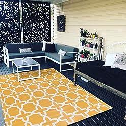 Garden and Outdoor Santex TT002 Reversible Outdoor/Indoor Plastic Rug,Easy to Clean,Perfect for Garden, Patio, Picnic, Decking(Yellow,8×10) outdoor rugs