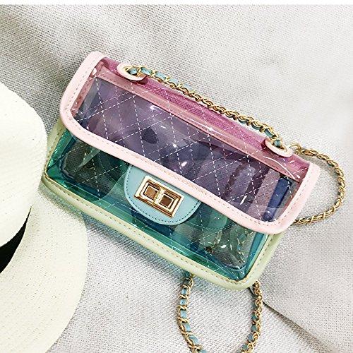 las de Lingge transparente bolso cadena bolso mujeres bolso de en exquisito jalea bolso Pink la Mini de la de hombro qtw6vw