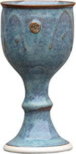 """Castle Arch Pottery Ireland Handmade Wine Goblet Hand-Thrown Hand-Glazed with Unique Celtic Stamp in Ireland , 7"""" Tall, Green"""