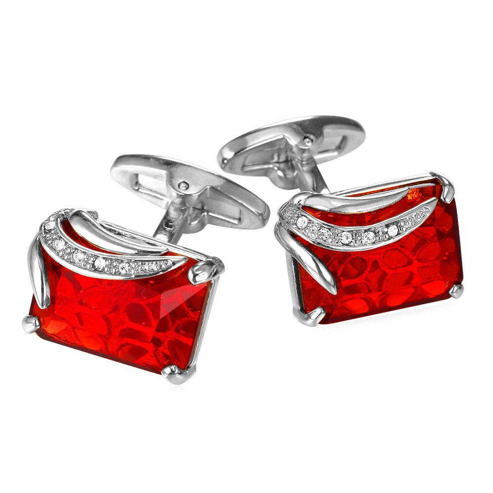 U7 Ruby Shiny Crystal Cufflinks Elegant Style Women Men Platinum Plated Fancy Stone Cuff Links