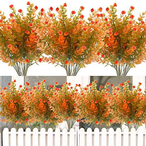 8PCS Artificial Flowers Outdoor UV Resistant Plants, 8 Branches Faux Plastic Corn-flower Greenery Shrubs Plants Indoor…