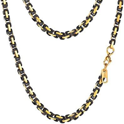 80c43b73f4c0fc PROSTEEL 4MM Stainless Steel Necklace for Men Jewelry Vintage Byzantine  Chain Link Gold Black Tone,
